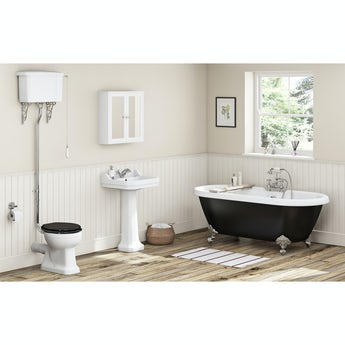 The Bath Co. Camberley black high level bathroom suite with freestanding bath