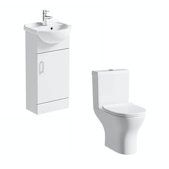 Sienna 41 White Vanity Unit with Compact Round Toilet