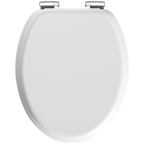 The Bath Co. white painted wooden soft close seat