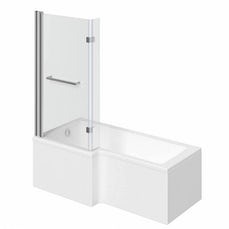 Image of Boston Shower Bath 1700 x 850 LH inc. 8mm Hinged Screen & Towel Rail with Front Panel