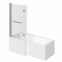 Boston left handed L shaped shower bath 1700mm with 8mm hinged shower screen and rail