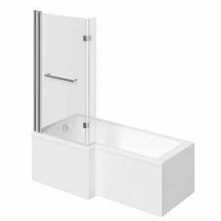 Boston Shower Bath 1700 x 850 LH inc. 8mm Hinged Screen with Towel Rail