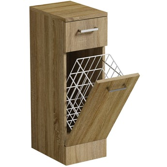 Sienna oak linen basket