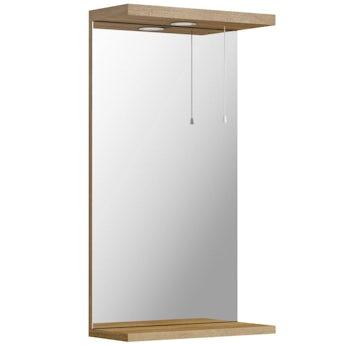 Sienna oak bathroom mirror with lights 410mm