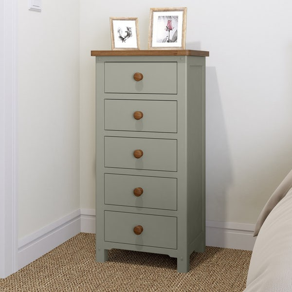 Rome Oak & Grey 5 Drawer Tall Chest with Mirror