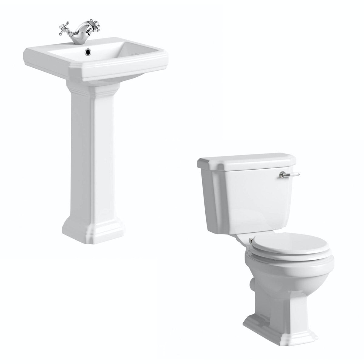 The Bath Co. Dulwich cloakroom suite with white seat and full pedestal basin 500mm
