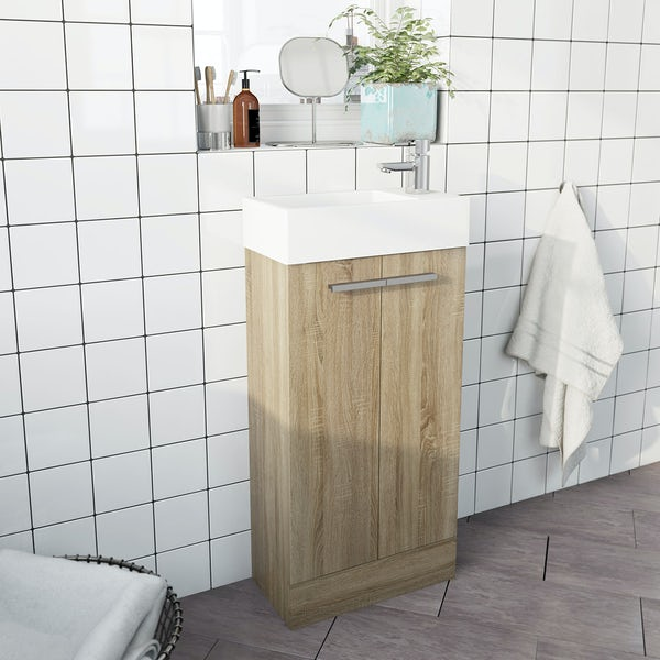 Clarity Compact oak cloakroom unit with basin 410mm