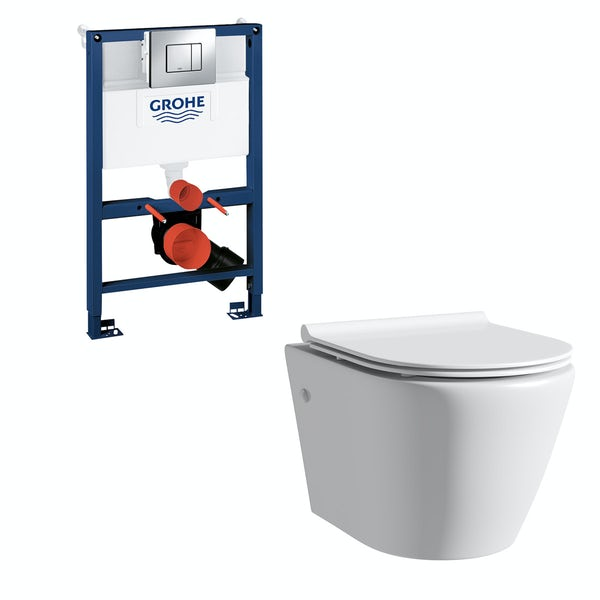 Mode Harrison rimless wall hung toilet with slim seat, Grohe frame and Skate Cosmopolitan push plate 0.82m