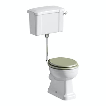 The Bath Co Camberley low level toilet inc sage soft close seat with pan connector