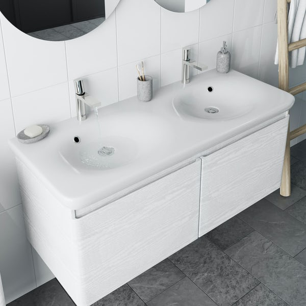 Mode Heath white wall hung vanity unit and basin 1200mm
