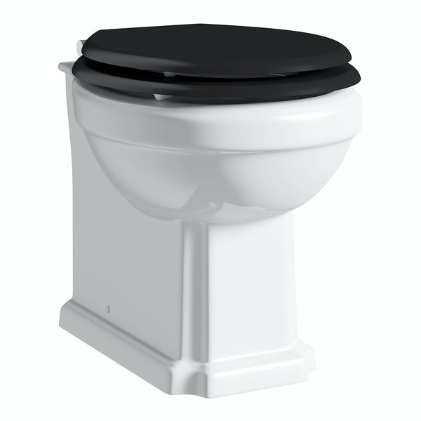 The Bath Co. Camberley back to wall toilet with black soft close seat and concealed cistern