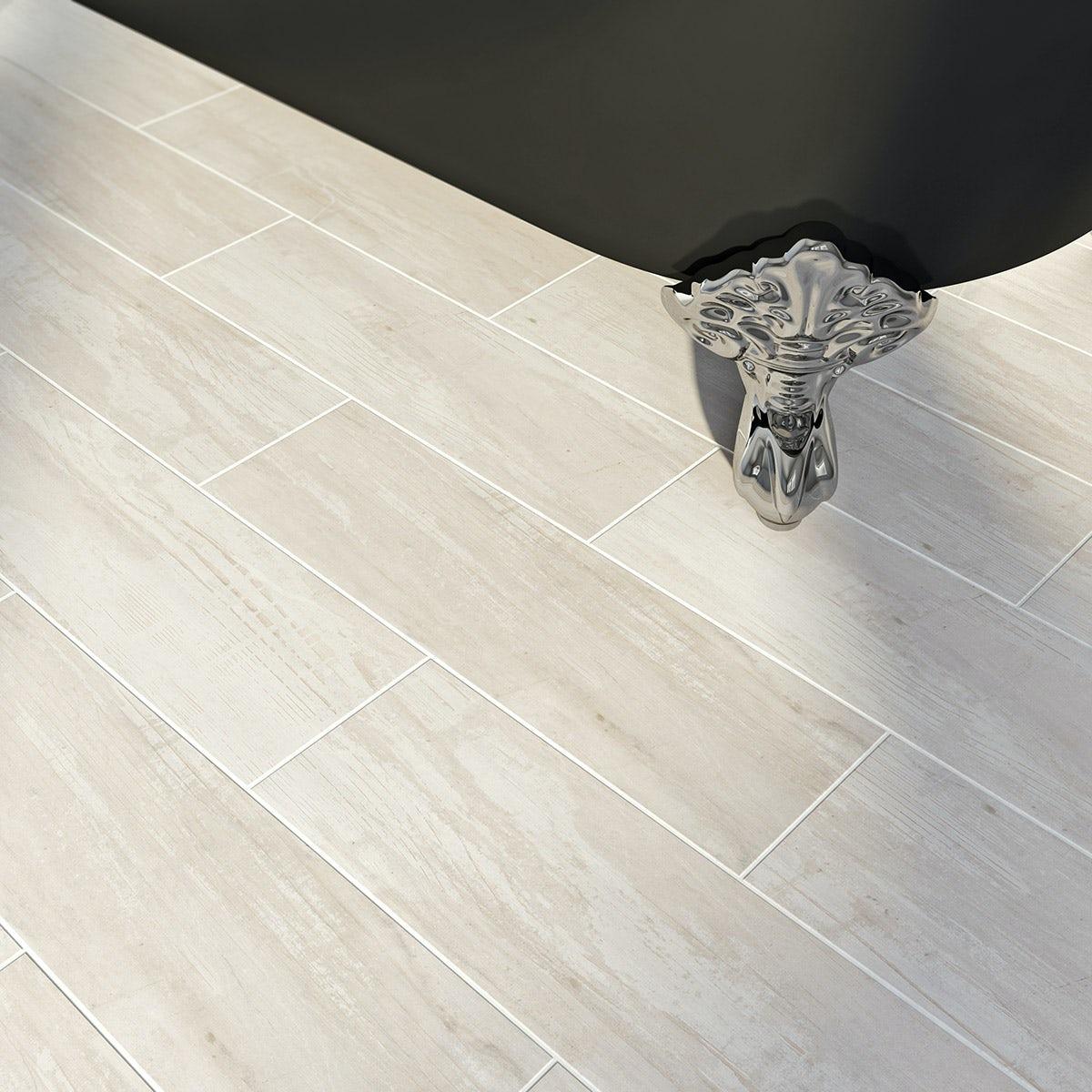 Bark white wood effect white matt tile 148mm x 498mm