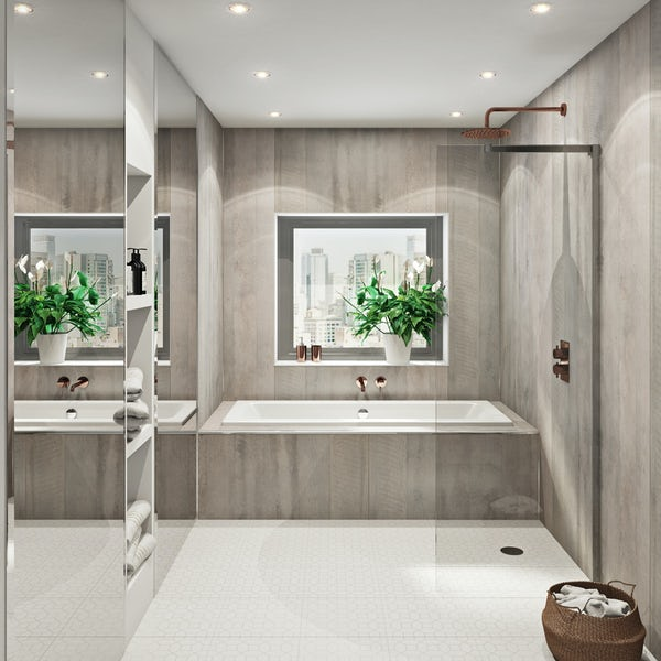 Multipanel Linda Barker Concrete Formwood Hydrolock shower wall panel