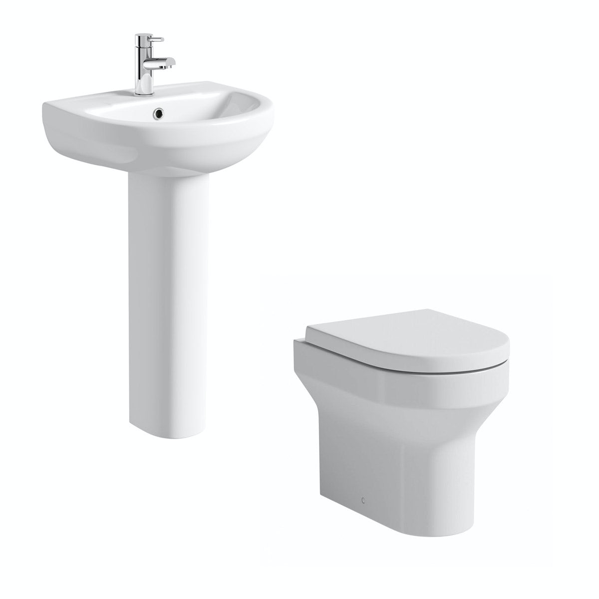 Orchard Wharfe back to wall cloakroom suite with full pedestal basin 500mm