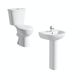 Simplicity close coupled toilet suite with full pedestal basin 540mm