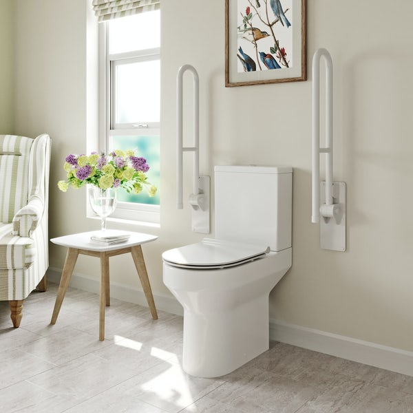 Orchard Wharfe comfort height close coupled toilet with soft close slim seat with pan connector