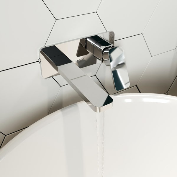 Mode Spencer square wall mounted basin mixer tap