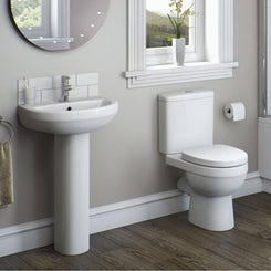 Energy compact short projection toilet and basin suite