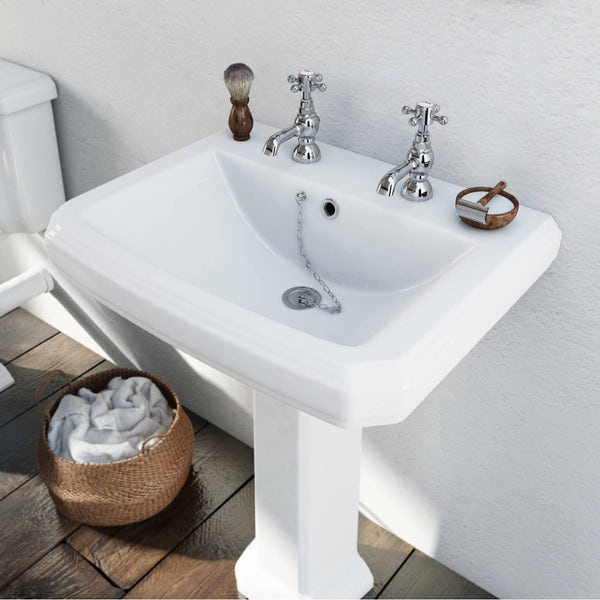 Dulwich 2 tap hole full pedestal basin 600mm with waste