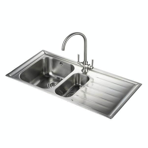 Rangemaster Kitchen Sinks Rangemaster manhattan 15 bowl right handed kitchen sink with waste no image rangemaster manhattan 15 bowl right handed kitchen sink with waste kit workwithnaturefo