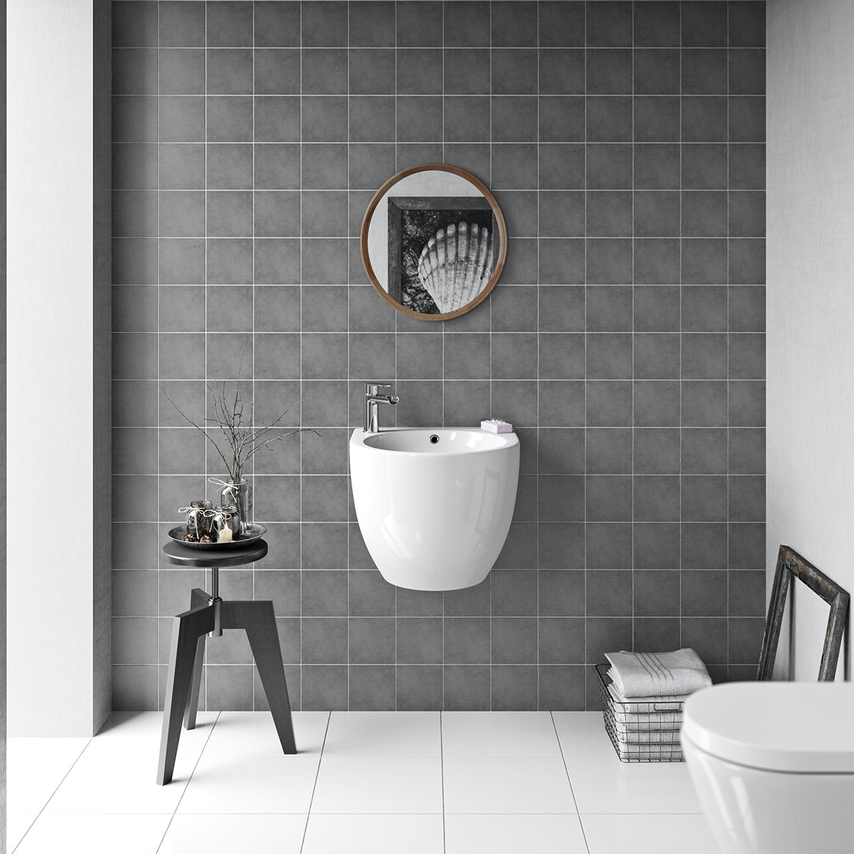 British ceramic tile patchwork plain mid grey matt tile for Bathroom floor ideas uk