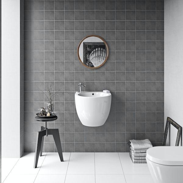 British Ceramic Tile Patchwork plain mid grey matt tile 142mm x 142mm