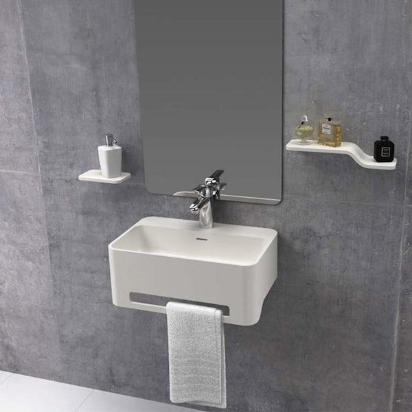 Belle de Louvain Carpi 1 tap hole solid surface stone resin wall hung basin 500mm