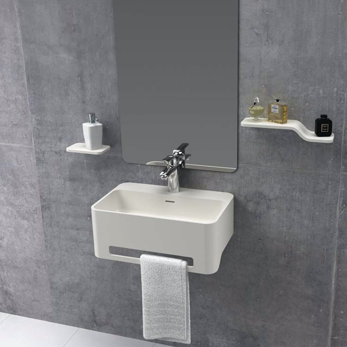Belle de Louvain Carpi 1 tap hole solid surface stone resin wall hung basin 500mm with waste and chrome trap