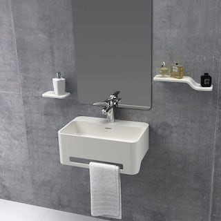 Belle de Louvain Carpi 1 tap hole solid surface stone resin wall hung basin 500mm