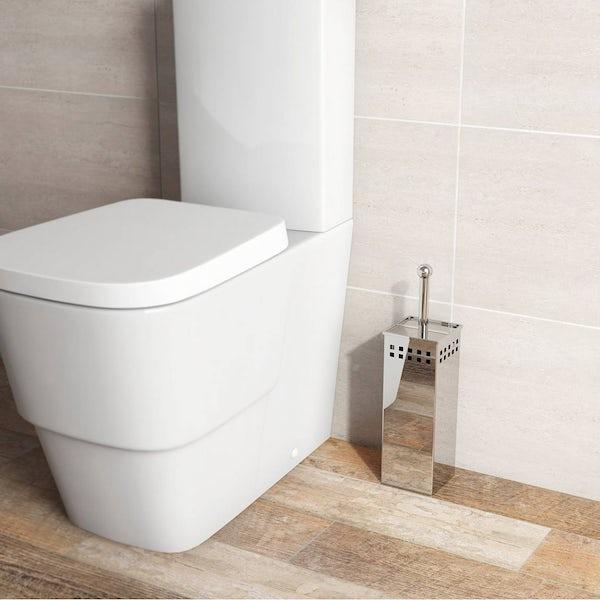 Options Square Freestanding Stainless Steel Toilet Brush Holder