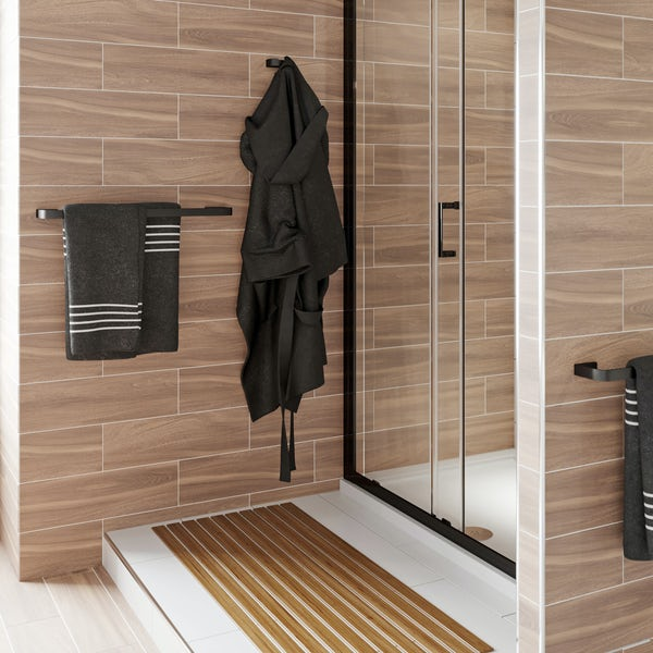Mode Spencer black double towel rail 600mm