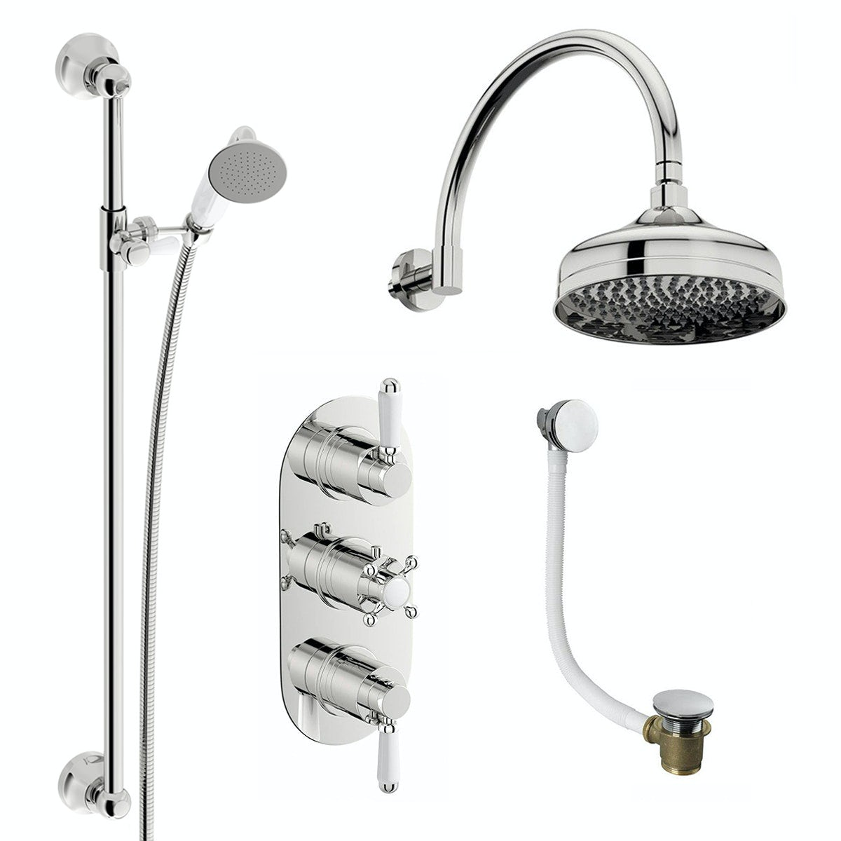 The Bath Co. Camberley thermostatic shower valve with shower bath set
