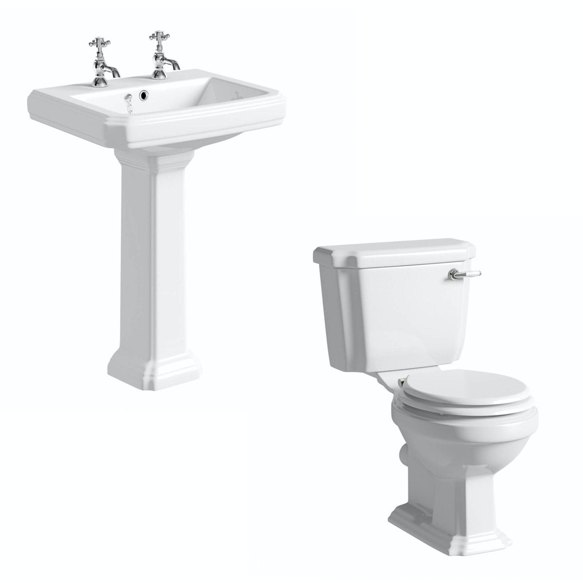 The Bath Co. Dulwich cloakroom suite with white seat and full pedestal basin 615mm