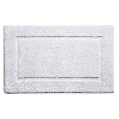 Hug Rug luxury bamboo border white bathroom mat 50 x 80cm
