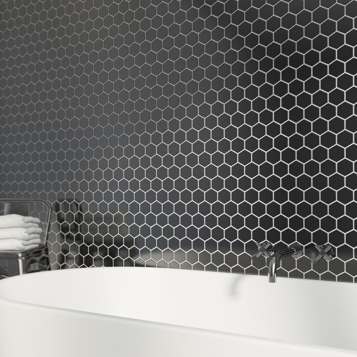 British Ceramic Tile Mosaic Hex Black Gloss Tile 300mm X