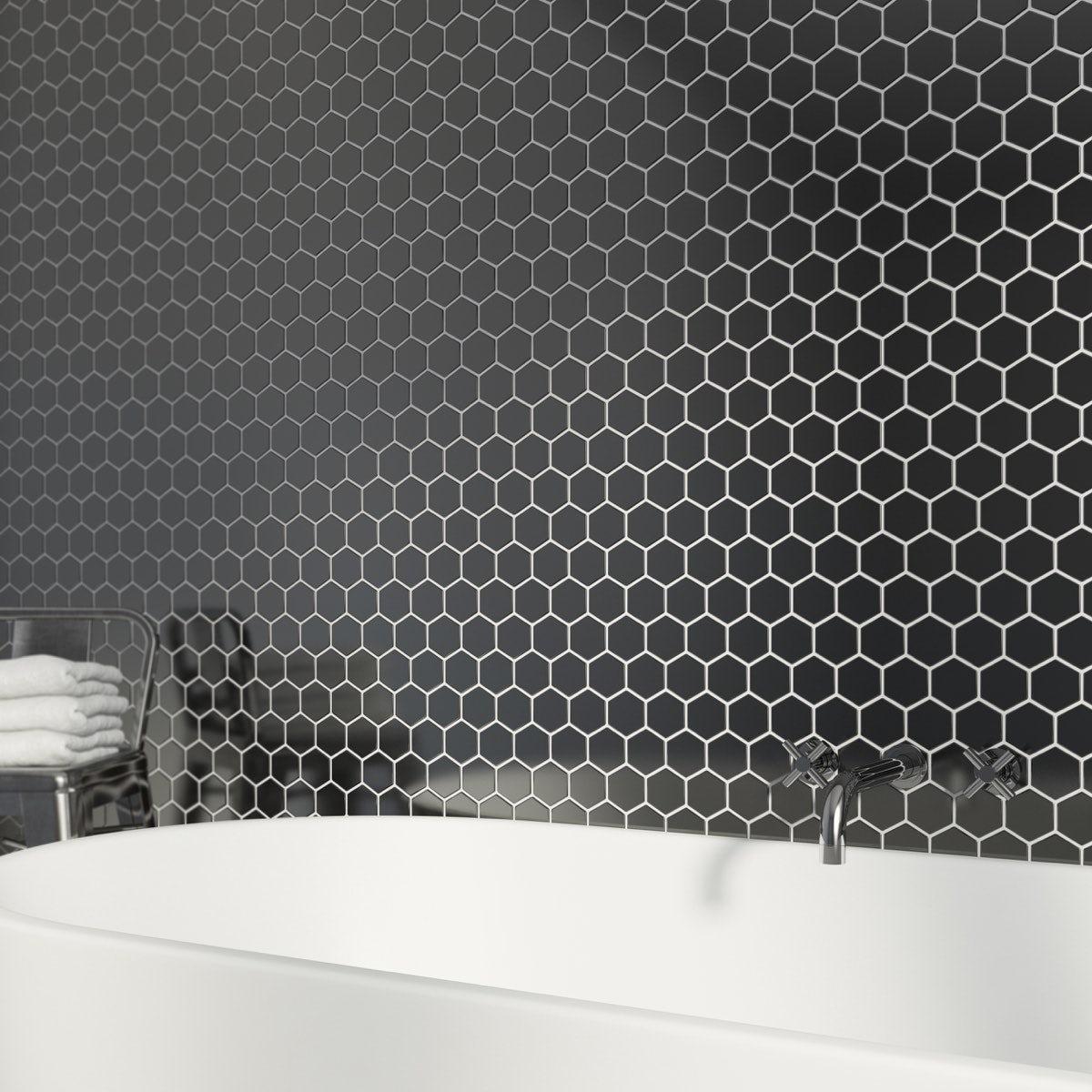 British Ceramic Tile Mosaic Hex Black Gloss Tile 300mm X 300mm   1 Sheet Part 61