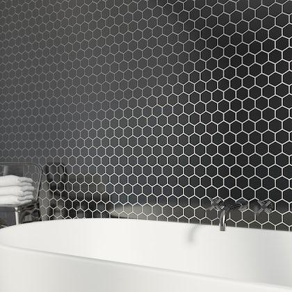 British Ceramic Tile Mosaic hex black gloss tile 300mm x 300mm - 1 sheet