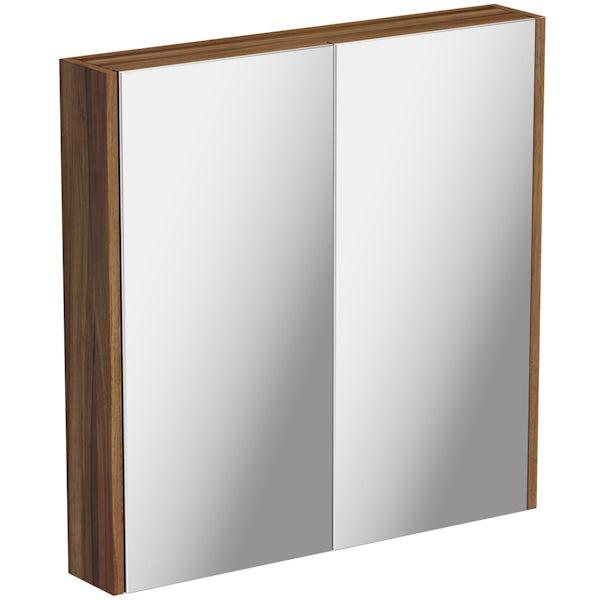 Clarity Walnut 2 Door Bathroom Mirror Cabinet Victoriaplum