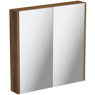 Clarity Walnut 2 Door Bathroom Mirror Cabinet