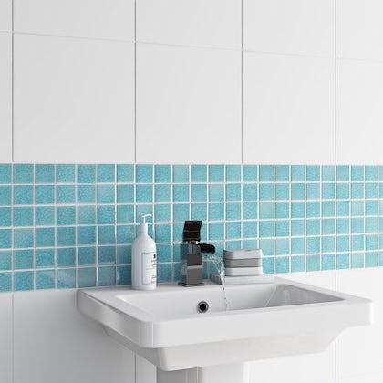 British Ceramic Tile Mosaic iridescent sea blue gloss tile 305mm x 305mm - 1 sheet