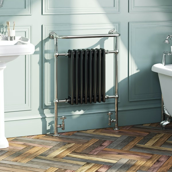 Dulwich black traditional heated towel rail 952 x 659