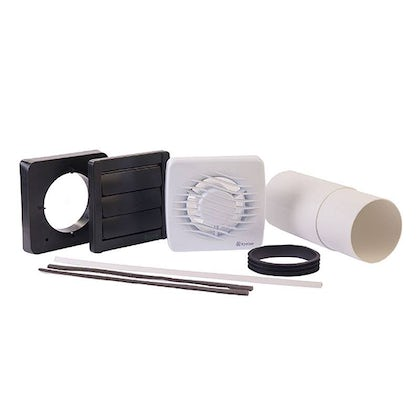 """Xpelair 4"""" (100mm) Bathroom Timer Fan with Fitting Kit"""