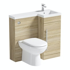 MySpace oak right handed unit with Autograph back to wall toilet