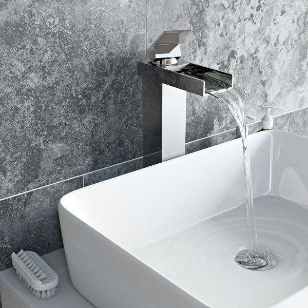 Metro waterfall high rise countertop basin mixer tap