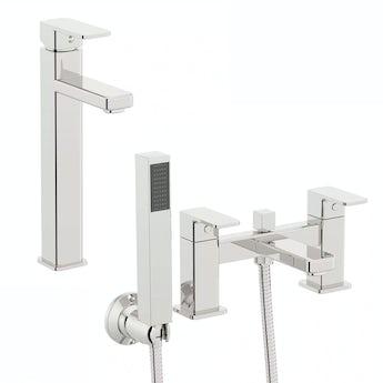 Orchard Quartz high rise basin and bath shower mixer pack