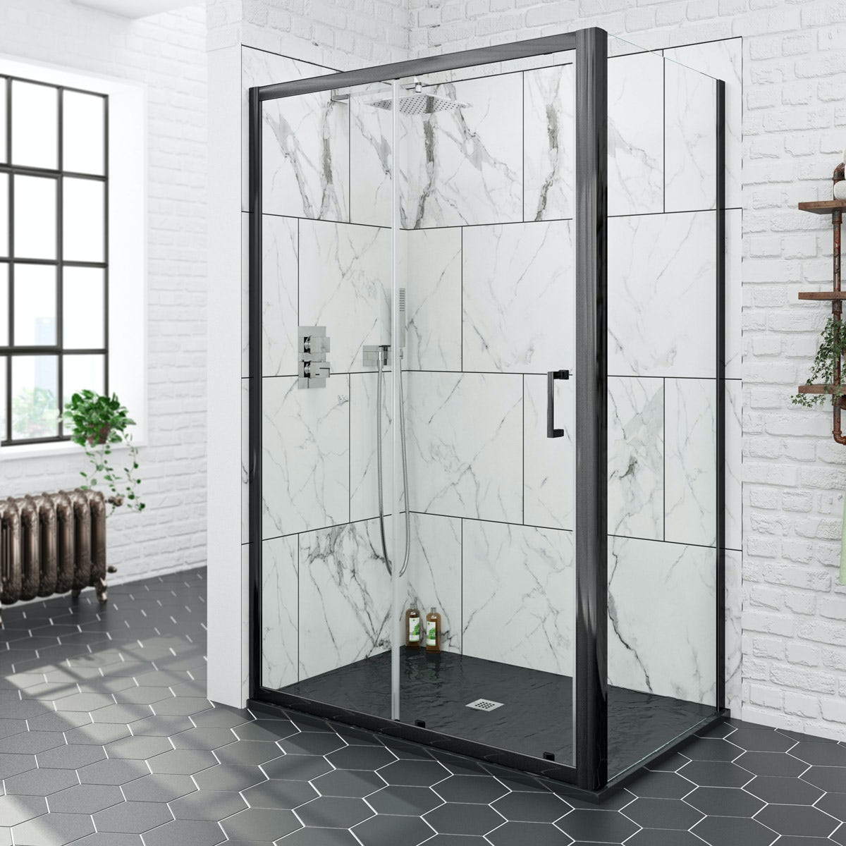 Mode Black 6mm Sliding Shower Enclosure With Black Slate