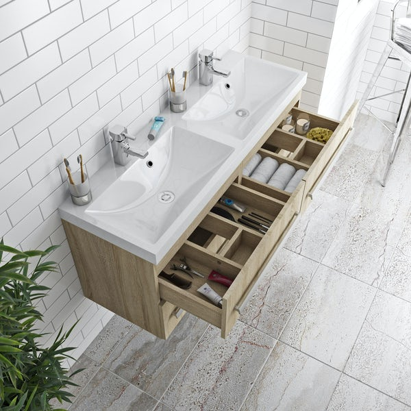 Wye oak wall hung double basin unit 1200mm