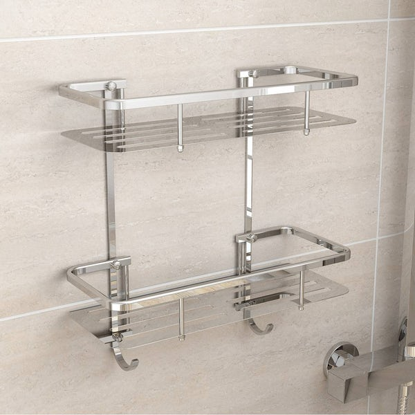 shelf bathroom tier inch basket kes shower aluminum dp