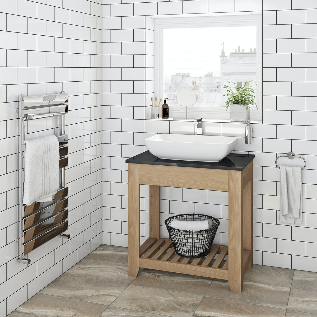 The Bath Co. Hoxton oak washstand with black marble top 800mm