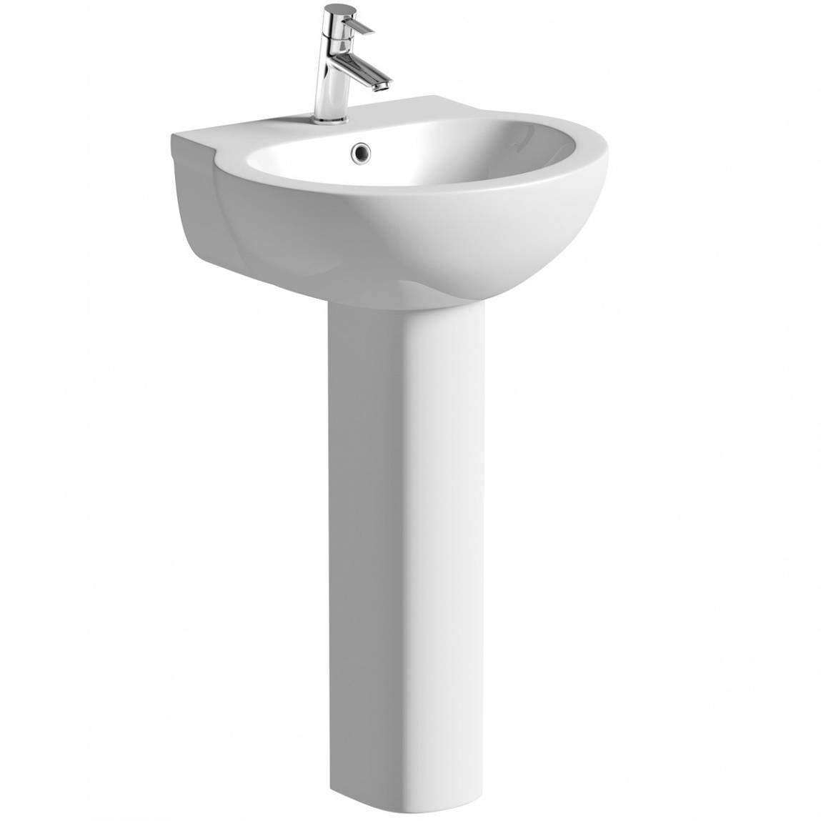 Orchard Madison 1 tap hole full pedestal basin 540mm with waste